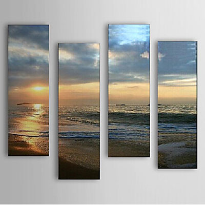 Sea and Beach-Landscape Oil Painting Wall Art-Modern Canvas Art Wall Decor with Stretched Frame Ready to Hang