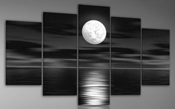 Sea White Full Moon Night-Landscape Oil Painting on Canvas-5pcs canvas art set with Stretched Frame Ready to Hang