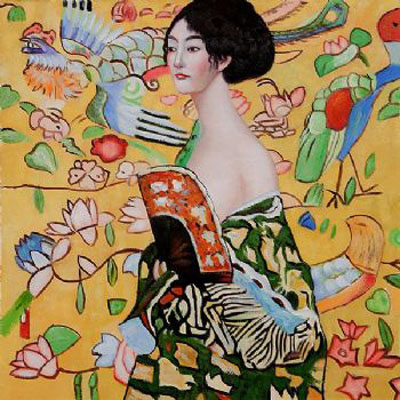 Signora con Ventaglio-Gustav Klimt oil painting-Women Canvas Wall Art with Framed Ready to Hang