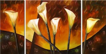 Six Calla Lily-Modern Canvas Art Wall Decor-Floral Oil Painting Wall Art with Stretched Frame Ready to Hang