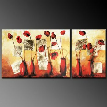 Six Vases With Red Tulips Modern Canvas Art Wall Decor Floral Oil