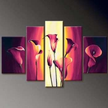 Sophisticated Callas-Modern Canvas Art Wall Decor-Floral Oil Painting Wall Art with Stretched Frame Ready to Hang