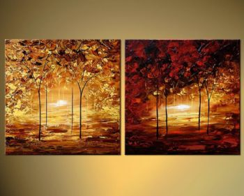 Soulmates-Modern Canvas Art Wall Decor-Landscape Oil Painting Wall Art with Stretched Frame Ready to Hang