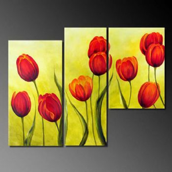 Spring Joy-Modern Canvas Art Wall Decor-Floral Oil Painting Wall Art with Stretched Frame Ready to Hang