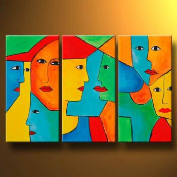 Square Faces-Modern Canvas Abstract Oil Painting Wall Art with Stretched Frame Ready to Hang