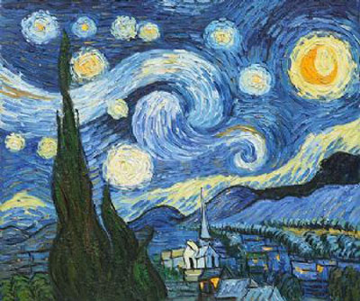 Starry Night-Vincent Van Gogh Oil Painting-Landscape Canvas Wall Art ...