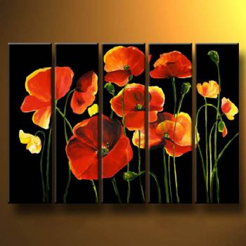 Stylish Poppies III-Modern Canvas Art Wall Decor-Floral Oil Painting Wall Art with Stretched Frame Ready to Hang
