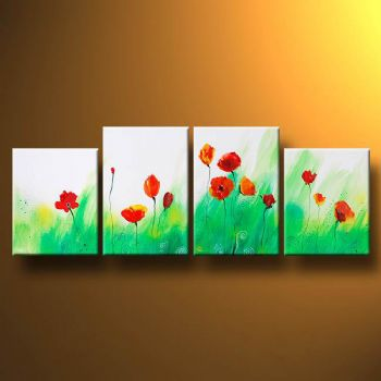 Subyle Poppy Flowers-Modern Canvas Art Wall Decor-Floral Oil Painting Wall Art with Stretched Frame Ready to Hang