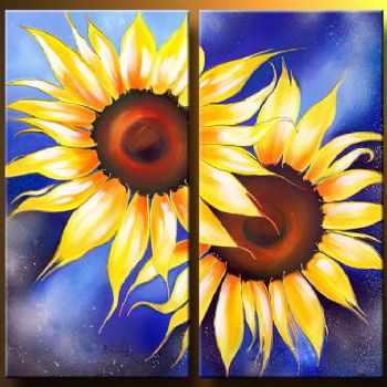 Sunflowers I-Modern Canvas Art Wall Decor-Floral Oil Painting Wall Art with Stretched Frame Ready to Hang
