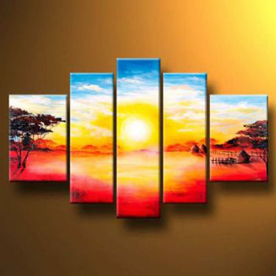 Sunrise I-Modern Canvas Art Wall Decor-Landscape Oil Painting Wall Art with Stretched Frame Ready to Hang