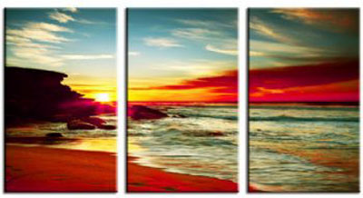 Sunrise On The Sea I-Modern Canvas Art Wall Decor-Seascape Oil Painting Wall Art with Stretched Frame Ready to Hang