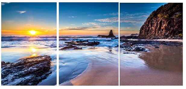 Sunset Beach  Modern Canvas Art Wall Decor Landscape Canvas Prints Wall Art  With Stretched