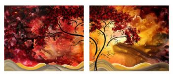Sweet Embrace Modern Canvas Abstract Oil Painting Wall Art with Stretched Frame Ready to Hang