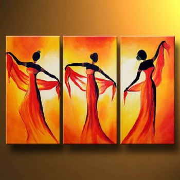 Tempting dance oil painting canvas wall art with stretched frame ready to hang