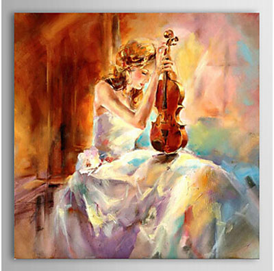The Girl Playing The Violin-Women Oil Painting Wall Art-Modern Canvas Art Wall Decor with Stretched Frame Ready to Hang