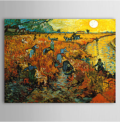 The Red Vineyard-Vincent Van Gogh Oil Painting-Landscape Canvas Wall Art
