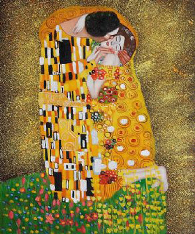 The Kiss-Gustav Klimt oil painting-Men and Women canvas wall art ...