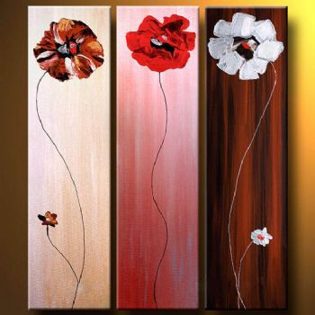 Three Poppies-Modern Canvas Art Wall Decor-Floral Oil Painting Wall Art with Stretched Frame Ready to Hang