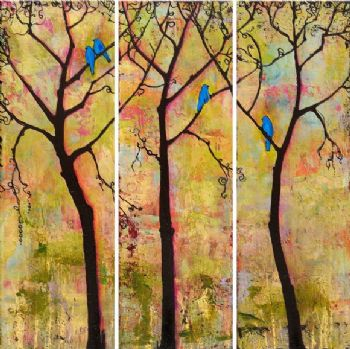 Three Trees Triptych-Modern Canvas Art Wall Decor-Landscape Oil ...