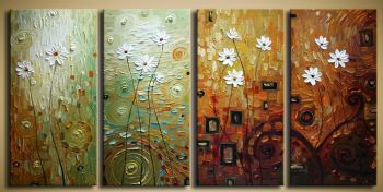 Touch Of Joy-Modern Canvas Art Wall Decor-Floral Oil Painting Wall Art with Stretched Frame Ready to Hang