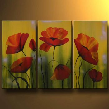 Transience Of Poppies-Modern Canvas Art Wall Decor-Floral Oil Painting Wall Art with Stretched Frame Ready to Hang