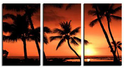 Tropical Sunset with Palm Trees-Modern Seascape Oil Painting Wall Art with Stretched Frame Ready to Hang