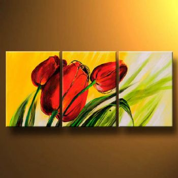 Tulips And The Spring Wind-Modern Canvas Art Wall Decor-Floral Oil Painting Wall Art with Stretched Frame Ready to Hang