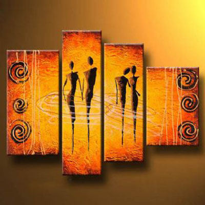 Two Couples-Modern Canvas Art Wall Decor-Abstract Oil Painting Wall Art with Stretched frame Ready to Hang