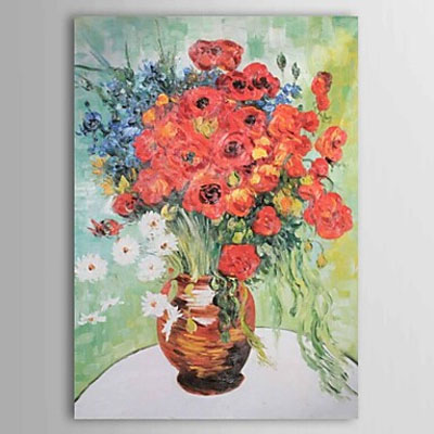 Hand Painted Vase with Daisies and Poppies-Vincent Van Gogh oil painting-Floral Canvas Wall Art