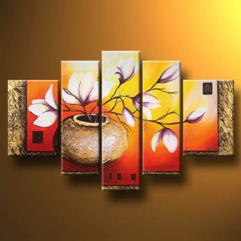 Vase With Magnolias-Modern Canvas Art Wall Decor-Floral Oil Painting Wall Art
