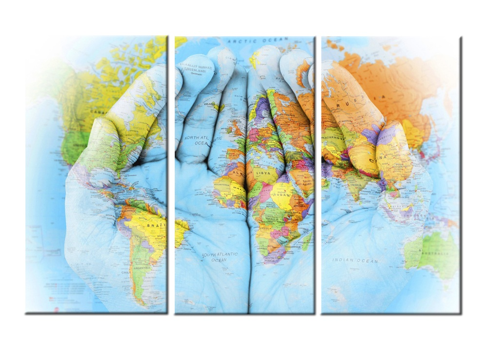 Hands World Map-Modern Canvas Art Wall Decor-Still Life Canvas Wall Art Stretched Framed Ready to Hang