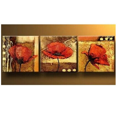 Poppy in the Gold-Modern Canvas Wall Art Decor Framed Floral Oil Paintings on Canvas Ready to Hang