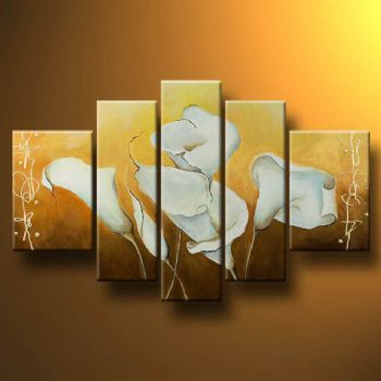 White Beauty Of Callas-Modern Canvas Art Wall Decor-Floral Oil Painting Wall Art