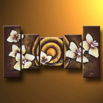 White Flowers II Modern Canvas Art Wall Decor Floral Oil Painting Wall Art  With