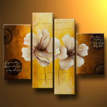 White poppies II-Modern Canvas Art Wall Decor-Floral Oil Painting Wall Art with Stretched Frame Ready to Hang
