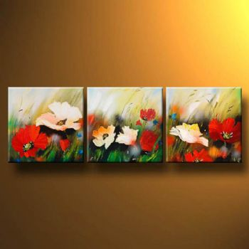 Wind On The Meadow-Modern Canvas Art Wall Decor-Floral Oil Painting Wall Art with Stretched Frame Ready to Hang