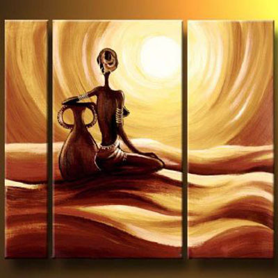 Woman On The Desert-Modern Canvas Art Wall Decor-Landscape Oil Painting Wall Art with Stretched over Wood Frame Ready to hang