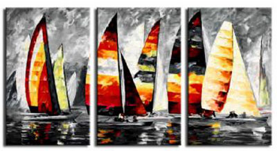 Yachts-Modern Canvas Art Wall Decor-Seascape Oil Painting Wall Art with Stretched Frame Ready to Hang