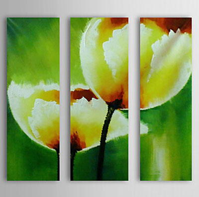 Yellow Tulip-Floral Oil Painting Wall Art-Modern Canvas Art Wall ...