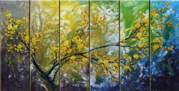 Yellow Cherry Blossoms I-Modern Canvas Art Wall Decor-Floral Oil Painting Wall Art with Stretched Frame Ready to Hang