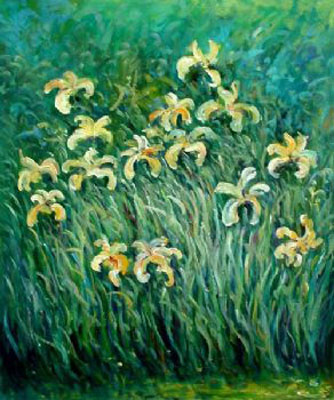 Yellow Irises-Claude Monet oil painting-Floral Canvas Wall Art Decor