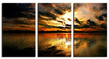 Yellow Sunset-Modern Canvas Art Wall Decor-Seascape Oil Painting Wall Art