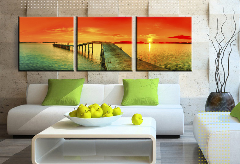 Sea Ocean Bridge Sunrise Wall Art Painting with Stretched Frame Ready to hang