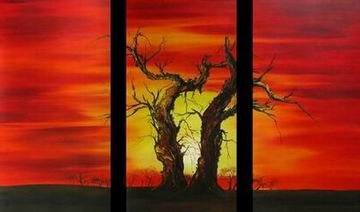 Morning Sun Tree- Modern Canvas Art Wall Decor- Landscape Oil Painting Wall Art with Stretched Frame Ready to hang