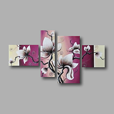 Magnolia Flowers White Purple Beige-Modern Canvas Art Wall Decor-4 pcs Floral Oil Painting Wall Art with Framed