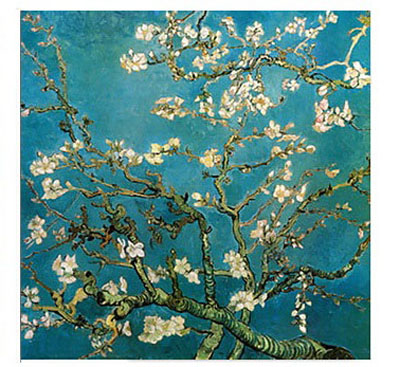 Canvas Oil Paintings Almond Branches in Bloom San Remyc.1890 by Vincent Van Gogh with Framed Ready to Hang