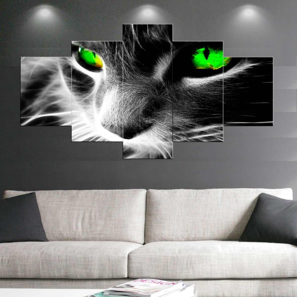 Green Eye Cat Paintings Wall Art Giclee Canvas Prints Animal Head Pictures Paintings on Canvas Stretched and Framed