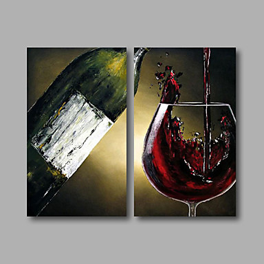 Red Wine Oil Painting Wall Art-Modern Canvas Art Wall Decor with Stretched and Framed Ready to Hang