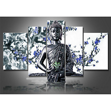 Religion Buddha Blue Flower -Abstract Oil Painting Wall Art-Modern Canvas Art Wall Decor with Stretched Frame Ready to Hang