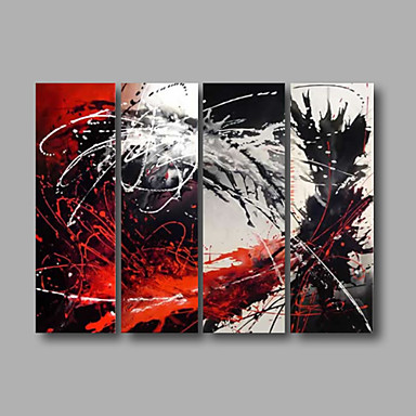 Red Grey Black Abstract Oil Painting Wall Art with Stretched Frame Ready to Hang
